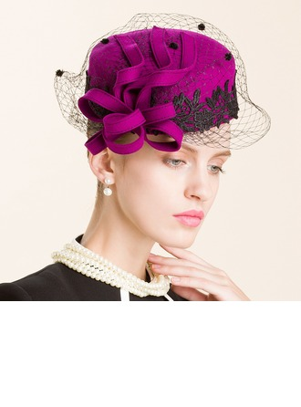 Ladies' Eye-catching Autumn/Winter Wool With Feather/Tulle Fascinators/Bowler/Cloche Hat