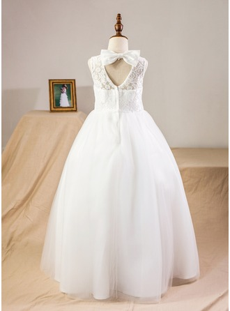 Ball Gown Floor-length Flower Girl Dress - Satin/Tulle/Lace Sleeveless Scoop Neck With Bow(s)/Back Hole