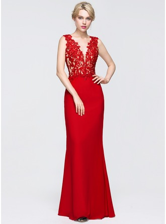Sheath/Column V-neck Floor-Length Chiffon Prom Dress With Beading Sequins