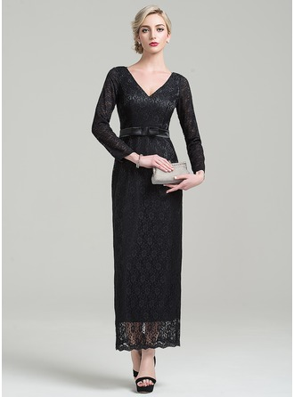 Sheath/Column V-neck Ankle-Length Lace Evening Dress With Bow(s)