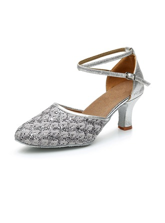 Women's Leatherette Sparkling Glitter Heels Latin Jazz Ballroom Party Tango With Ankle Strap Dance Shoes