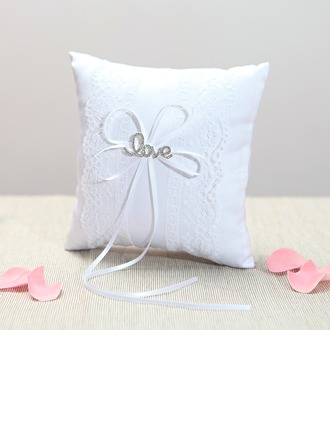 Grace Ring Pillow in Cloth With Ribbons/Rhinestones