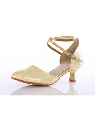 Women's Leatherette Heels Latin Ballroom Party Tango With Ankle Strap Dance Shoes
