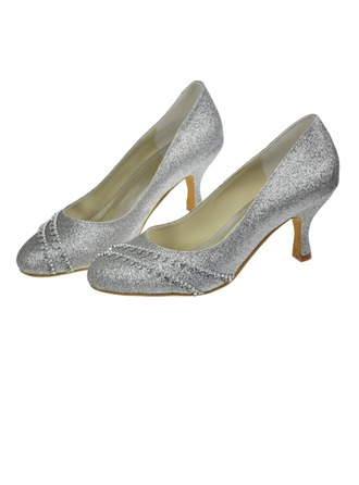 Women's Sparkling Glitter Low Heel Closed Toe Pumps With Chain