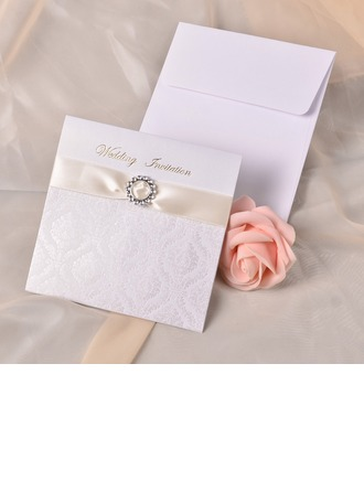 Modern Style Wrap & Pocket Invitation Cards With Ribbons