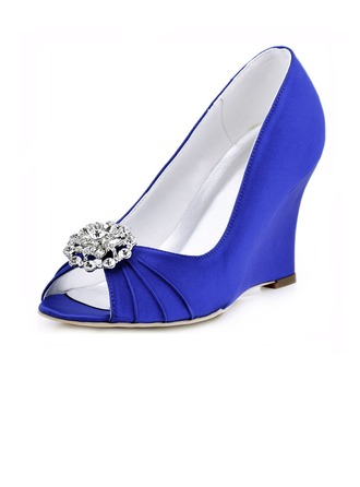 Women's Satin Wedge Heel Peep Toe Sandals With Rhinestone