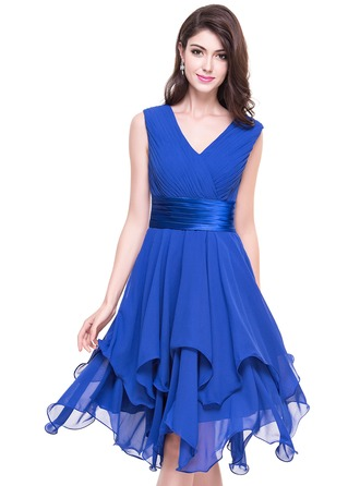 A-Line/Princess V-neck Asymmetrical Chiffon Cocktail Dress With Ruffle Cascading Ruffles