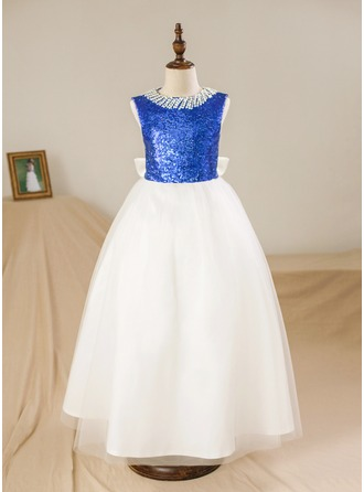 Ball Gown Floor-length Flower Girl Dress - Satin/Tulle Sleeveless Scoop Neck With Beading/Sequins/Bow(s)/Back Hole
