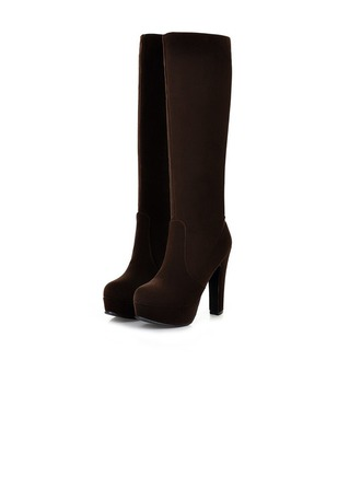 Women's Leatherette Pumps Platform Closed Toe Knee High Boots shoes