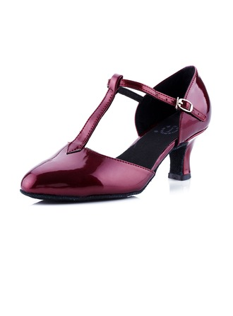 Women's Leatherette Heels Pumps Modern Ballroom With T-Strap Dance Shoes