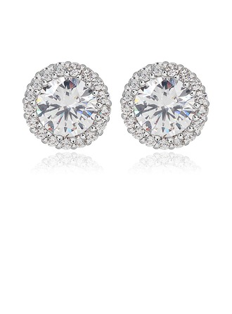 Classic Zircon/Platinum Plated Ladies' Earrings