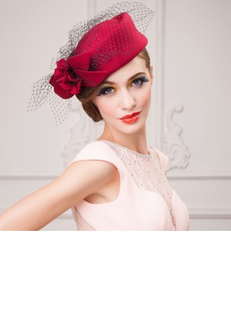 Ladies' Lovely Autumn/Winter Wool With Tulle Fascinators