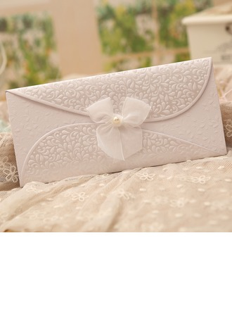 Classic Style Tri-Fold Invitation Cards With Bows