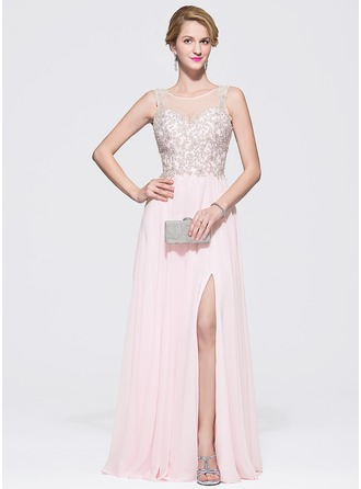 A-Line/Princess Scoop Neck Floor-Length Chiffon Tulle Prom Dress With Beading Sequins Split Front