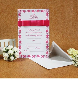 Classic Style Flat Card Invitation Cards With Ribbons