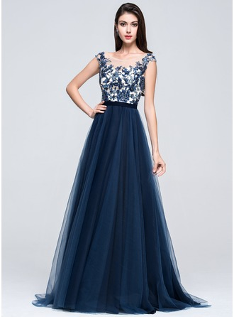A-Line/Princess Scoop Neck Sweep Train Tulle Prom Dress With Beading Appliques Lace Sequins