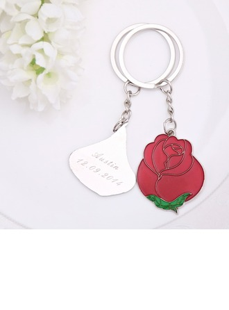 """Personalized """"Love is like a red rose"""" Stainless Steel Keychains"""