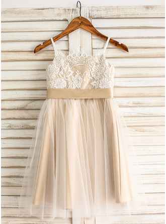 A-Line/Princess Knee-length Flower Girl Dress - Tulle/Lace Sleeveless Straps With Sash/Bow(s)