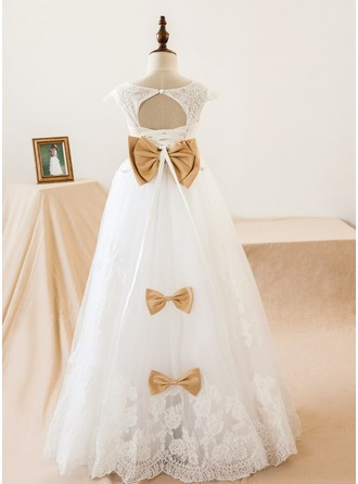 A-Line/Princess Floor-length Flower Girl Dress - Tulle/Lace Short Sleeves V-neck With Sash/Bow(s)/Back Hole
