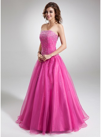 Ball-Gown Strapless Floor-Length Organza Quinceanera Dress With Beading Sequins