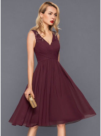 A Line Princess V Neck Knee Length Chiffon Cocktail Dress