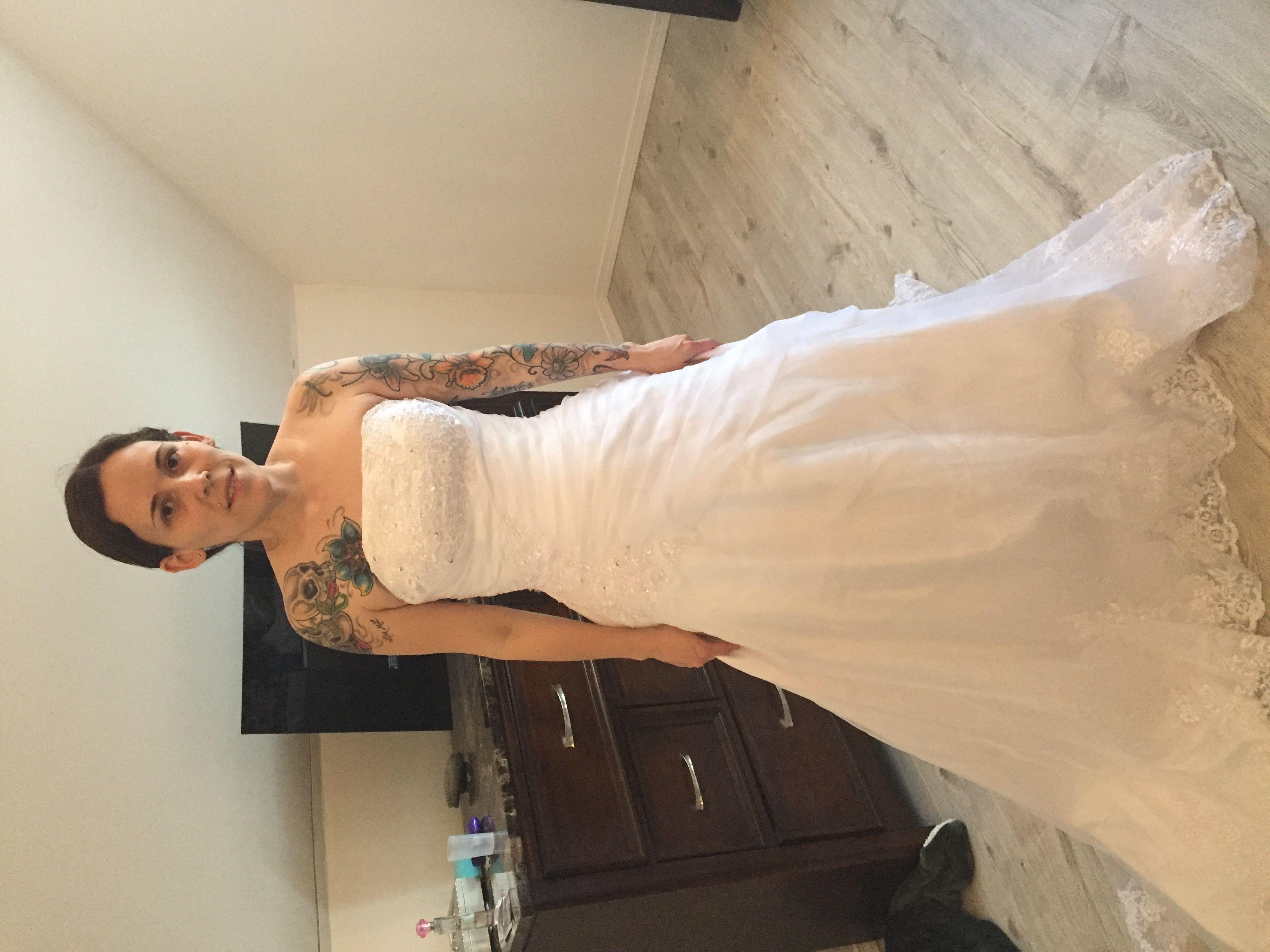 Satin Ball Gown Wedding Dress: Ball-Gown Strapless Chapel Train Satin Organza Wedding