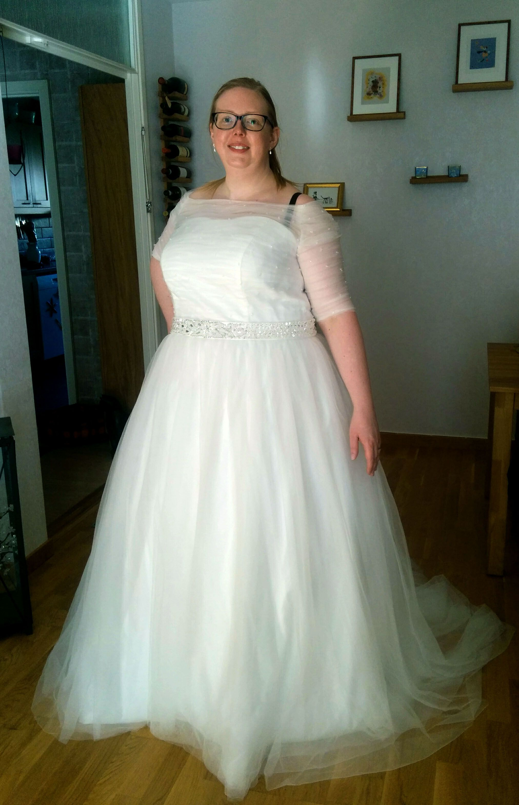 A-Line/Princess Off-the-Shoulder Chapel Train Tulle Wedding Dress ...