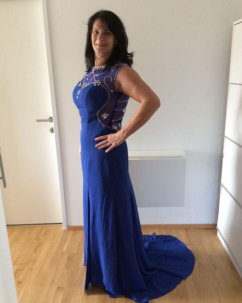 Trumpet/Mermaid Scoop Neck Sweep Train Chiffon Prom Dress ...
