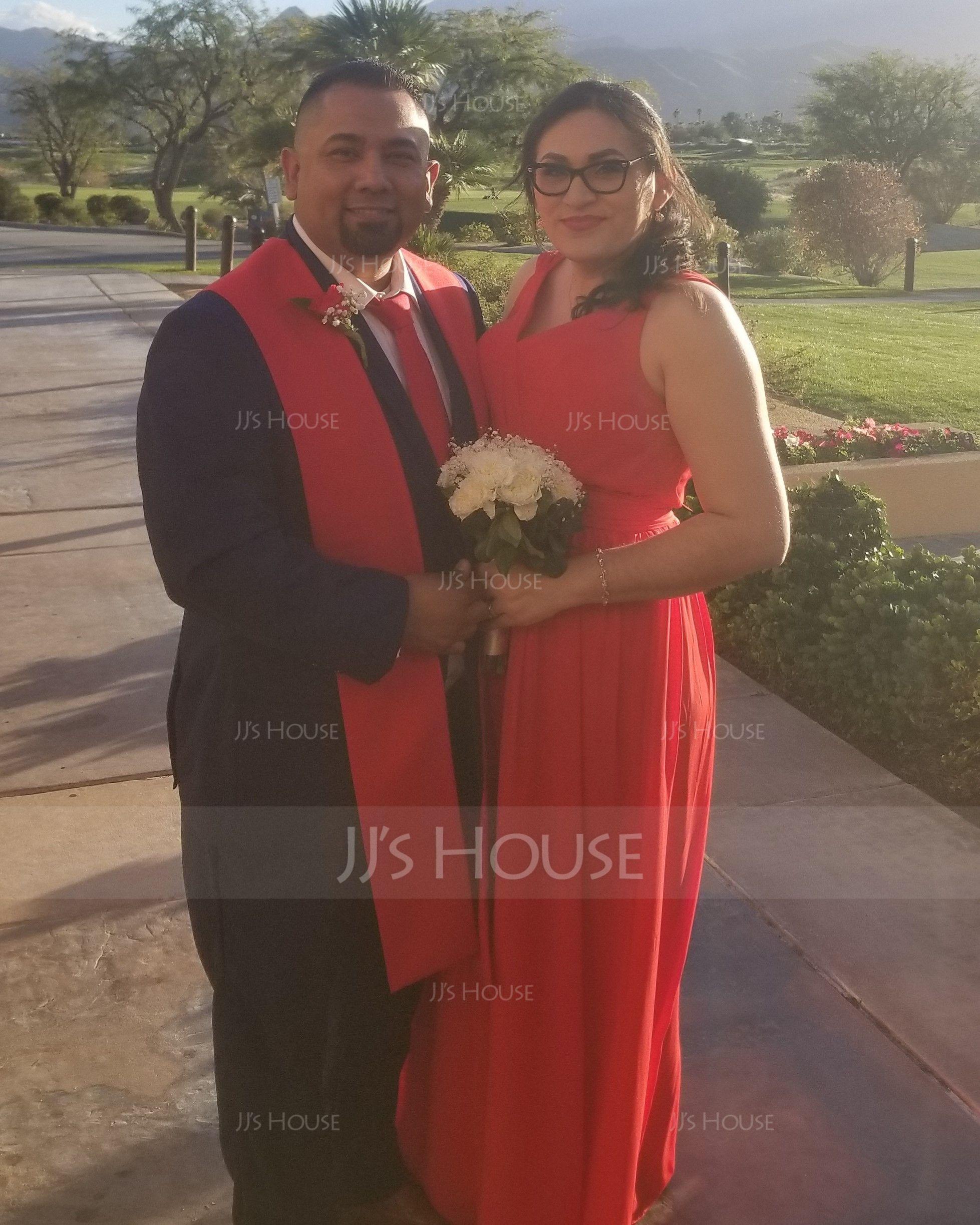 A-Line/Princess V-neck Floor-Length Chiffon Bridesmaid Dress With Ruffle (007116662)