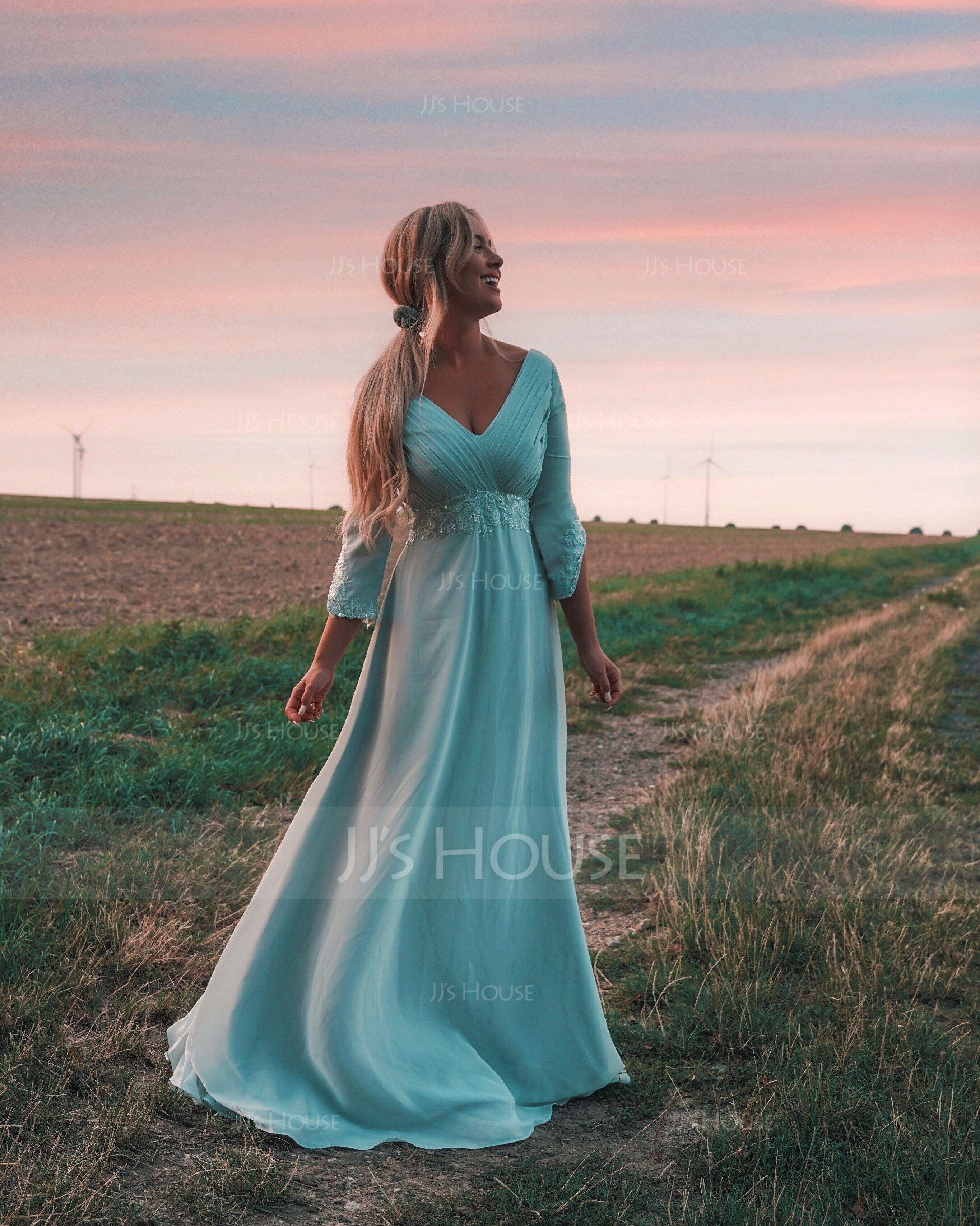 Empire V-neck Floor-Length Chiffon Mother of the Bride Dress With Ruffle Beading (008014434)