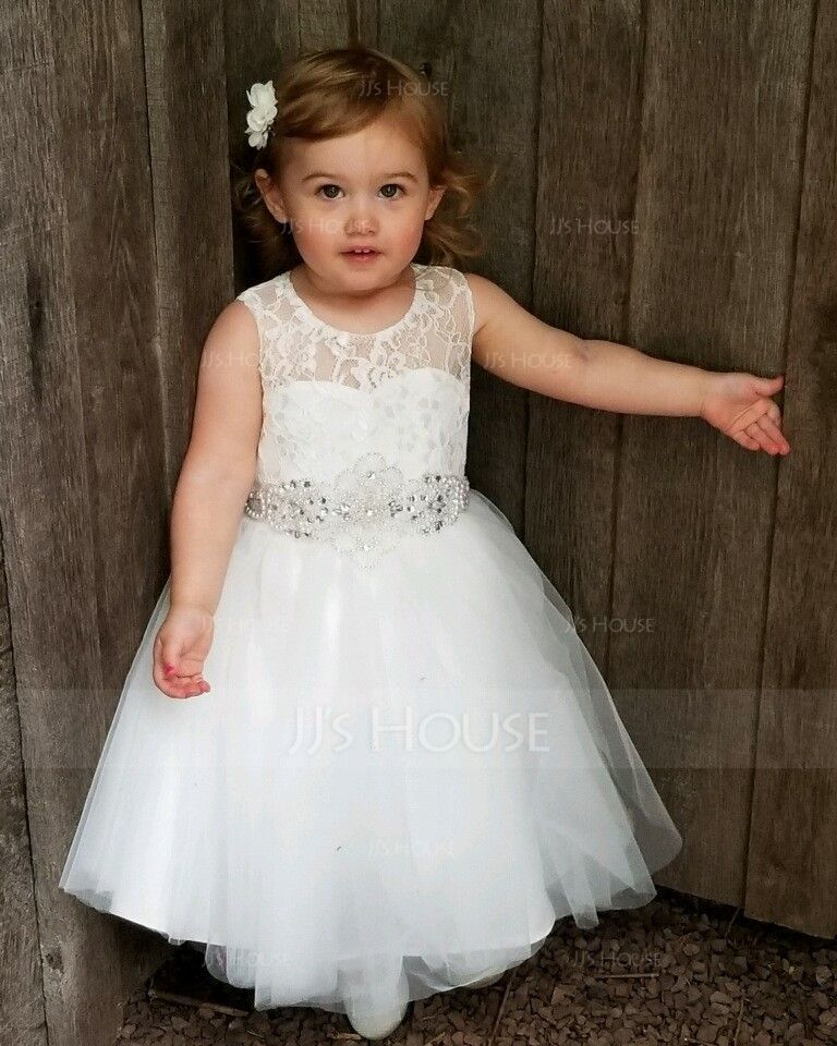 A-Line/Princess Knee-length Flower Girl Dress - Satin/Tulle/Lace Sleeveless Scoop Neck With Beading (010131713)