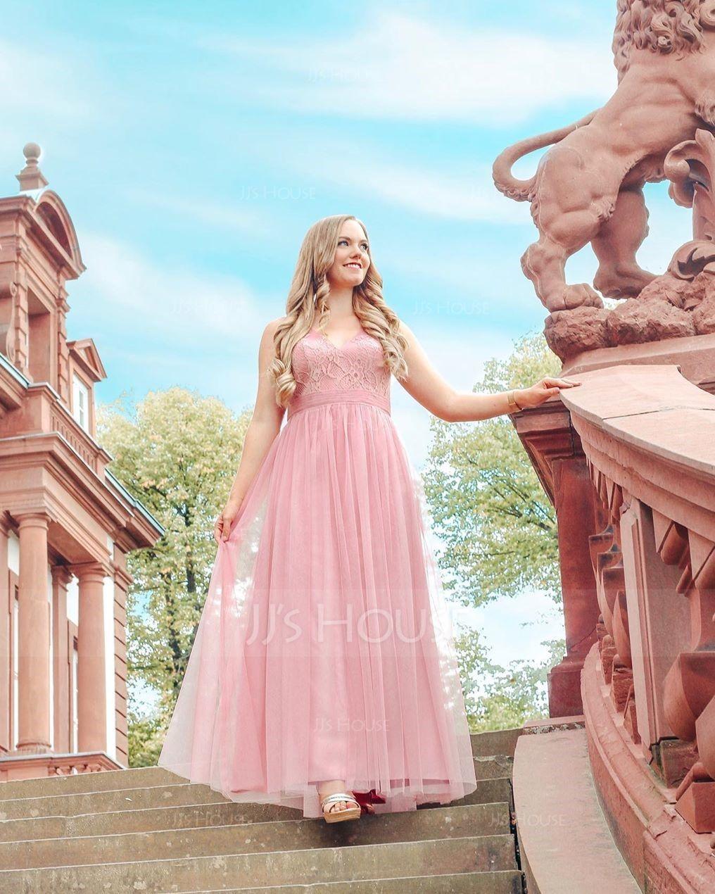 Трапеция/Принцесса V-образный Длина до пола Тюль Платье Подружки Невесты (007090200)