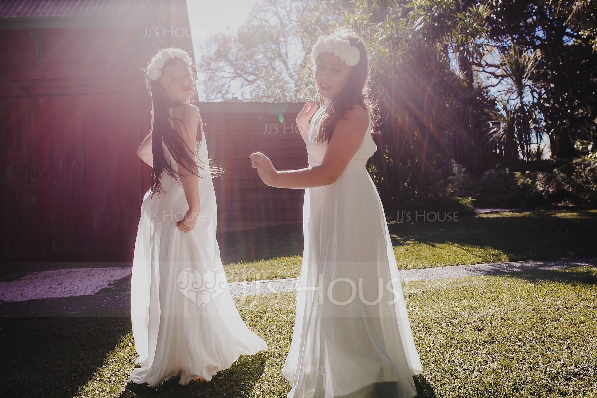 A-Linie U-Ausschnitt Bodenlang Chiffon Kleider für junge Brautjungfern mit Rüschen (009130653)