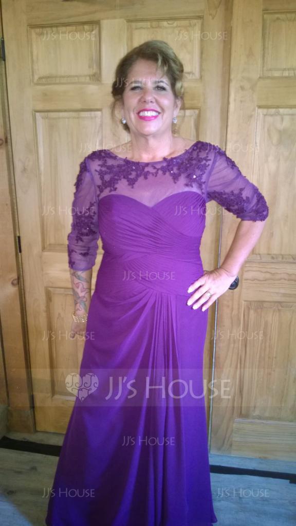 A-Linie U-Ausschnitt Bodenlang Chiffon Spitze Kleid für die Brautmutter mit Perlstickerei Pailletten Gestufte Rüschen (008114233)