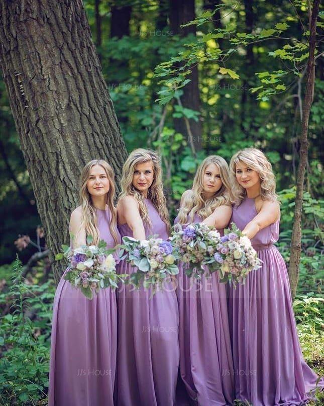 A-Line/Princess Scoop Neck Floor-Length Chiffon Bridesmaid Dress With Bow(s) (007090145)