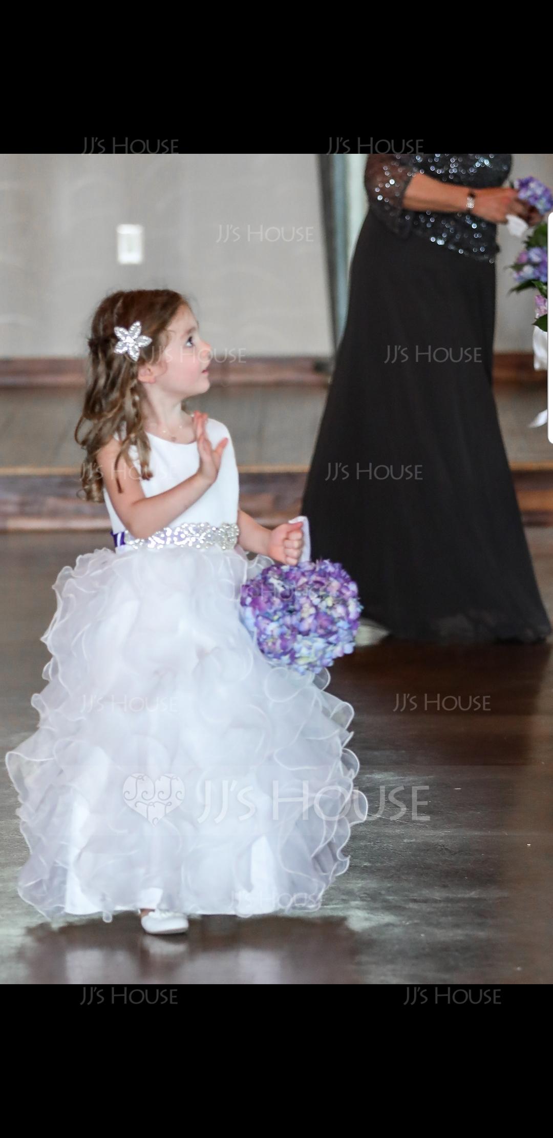 Duchesse-Linie Bodenlang Blumenmädchenkleid - Organza Ärmellos U-Ausschnitt mit Rüschen (010091421)