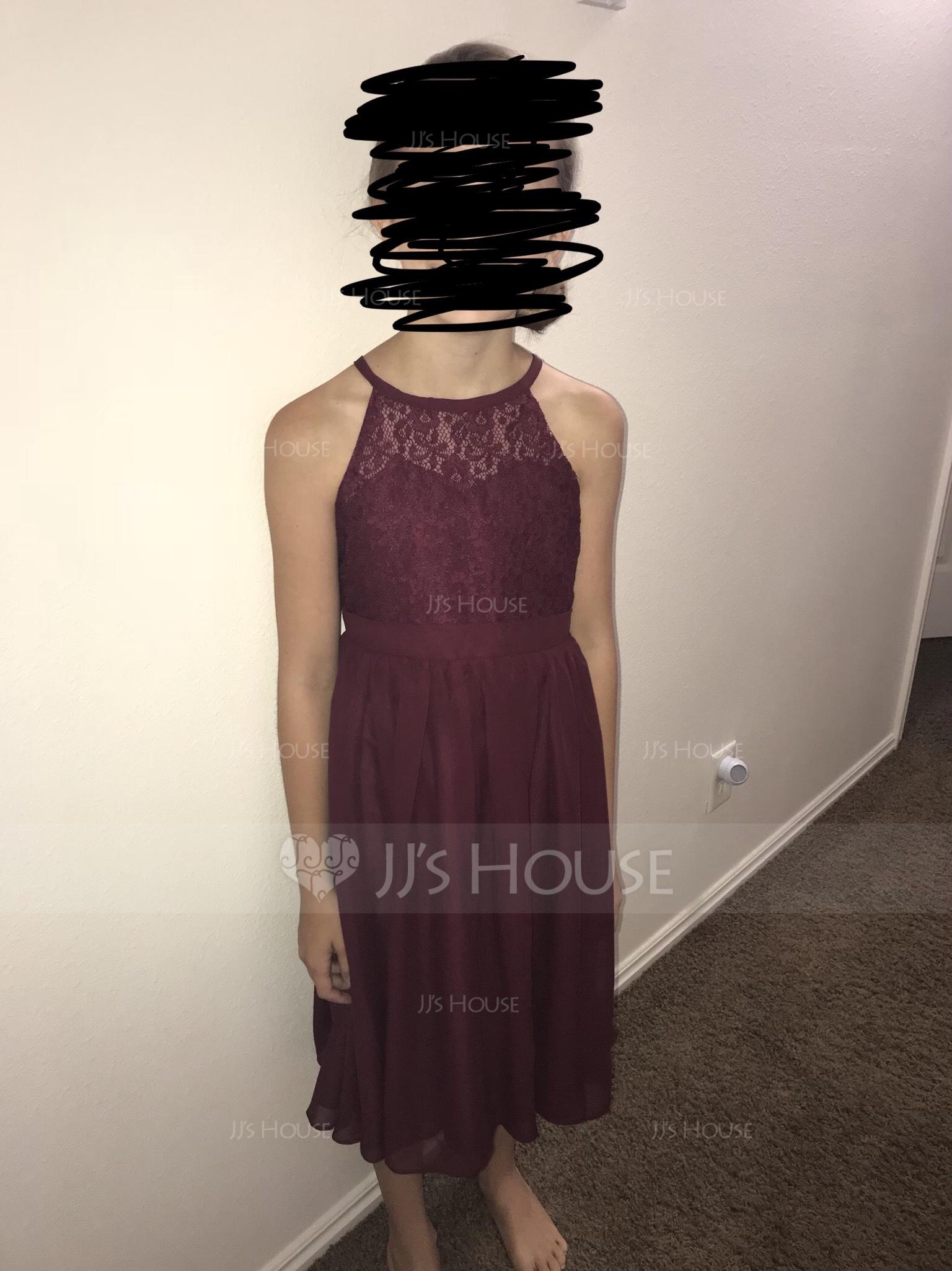 A-Linie U-Ausschnitt Knielang Chiffon Kleider für junge Brautjungfern (009119575)