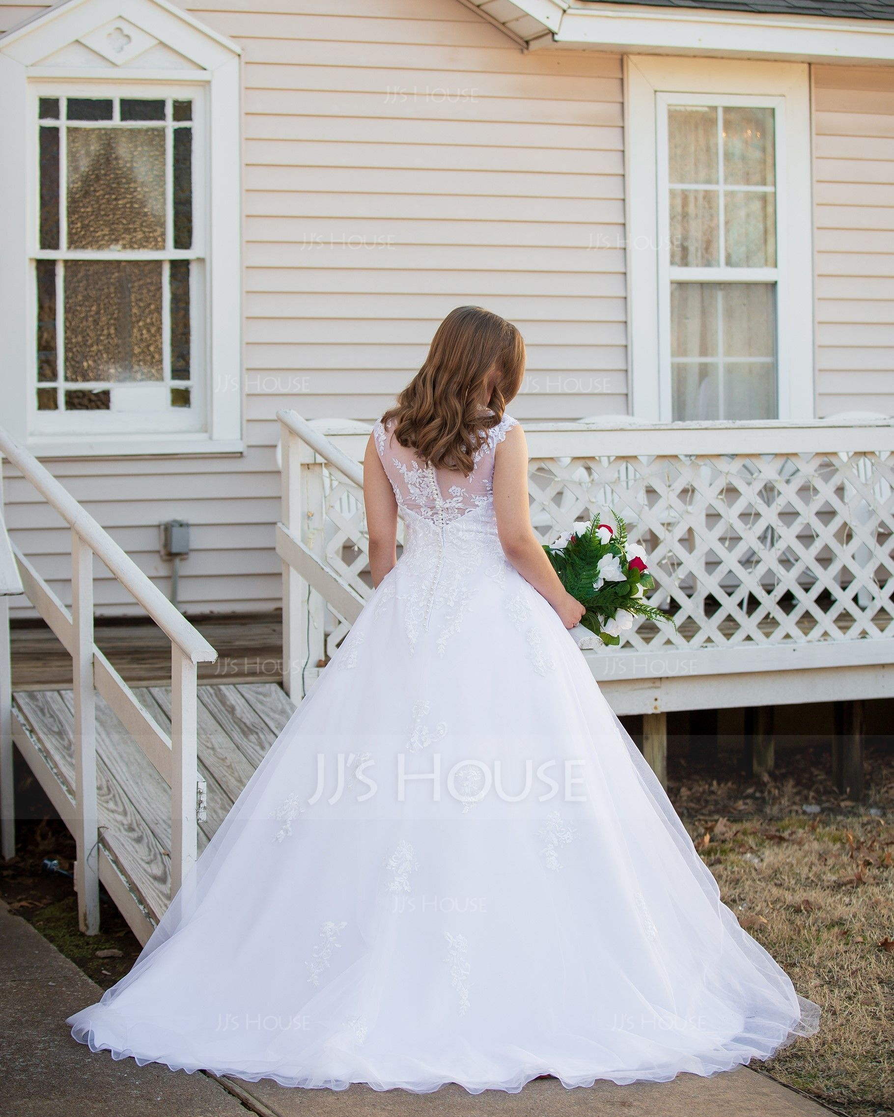 Ball-Gown/Princess Illusion Court Train Tulle Wedding Dress (002145300)