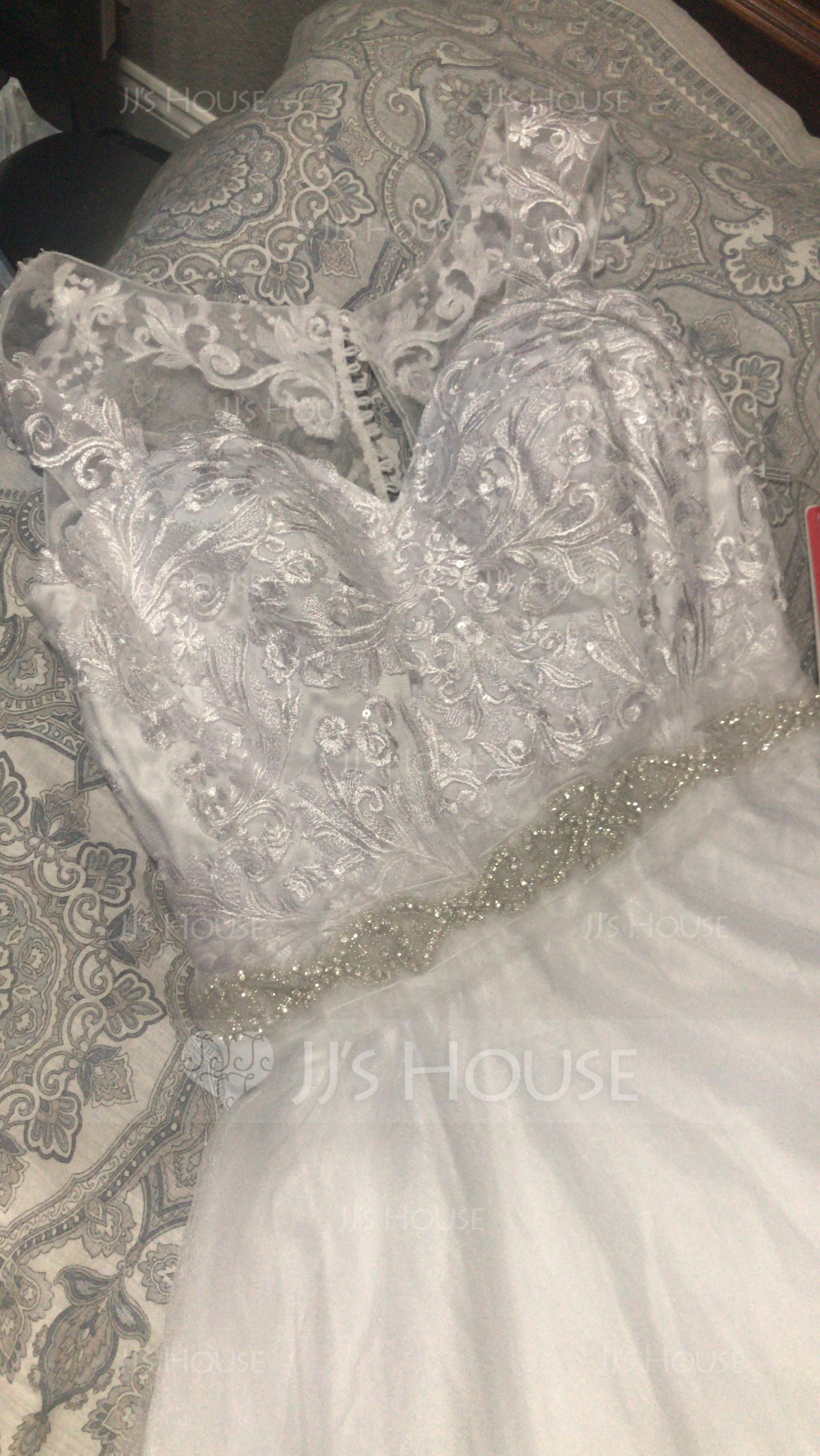 Duchesse-Linie Schatz Hof-schleppe Tüll Spitze Brautkleid mit Perlstickerei (002134390)