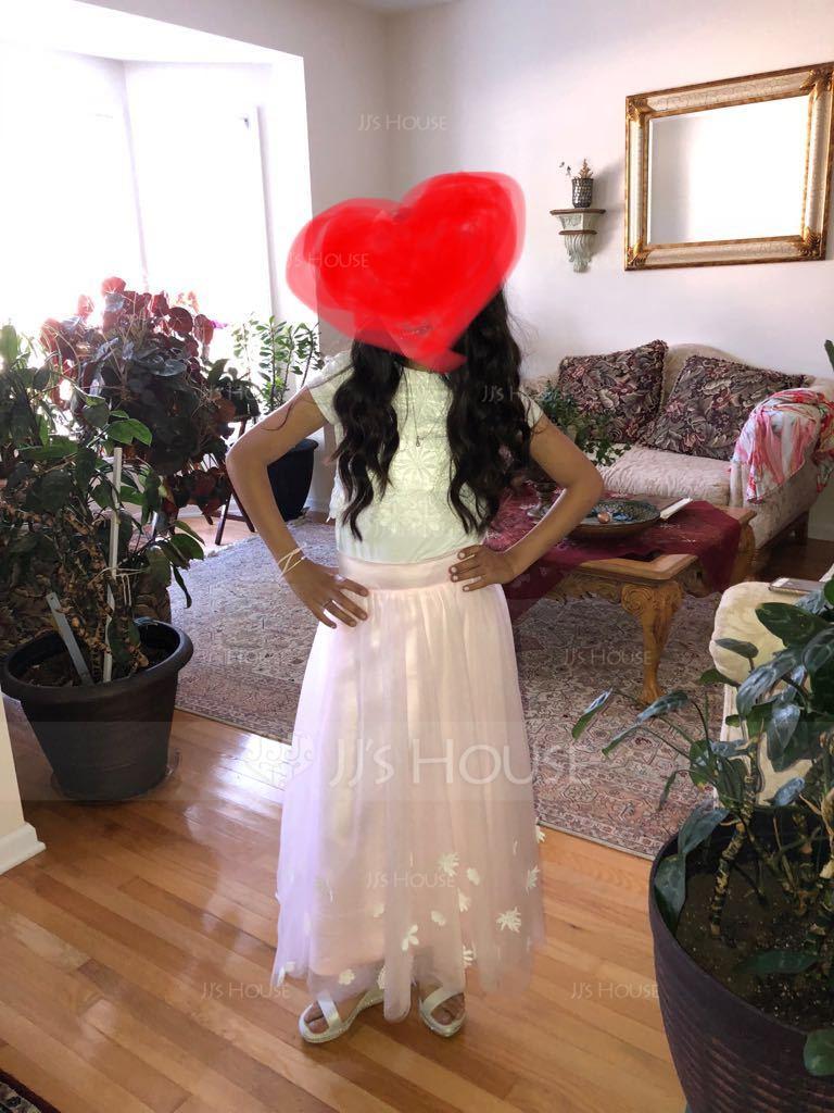 A-Linie U-Ausschnitt Wadenlang Tüll Kleider für junge Brautjungfern mit Blumen (009130617)