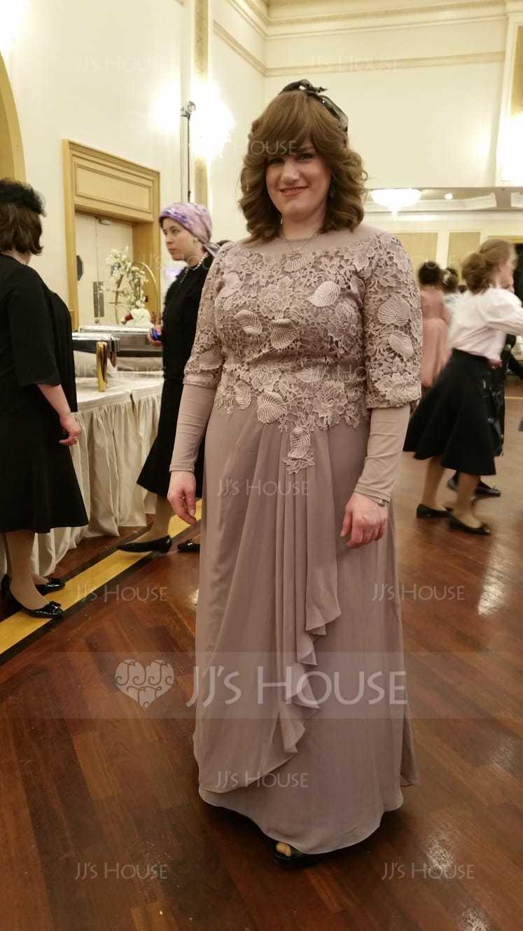 A-Linie U-Ausschnitt Bodenlang Chiffon Spitze Kleid für die Brautmutter mit Gestufte Rüschen (008131932)