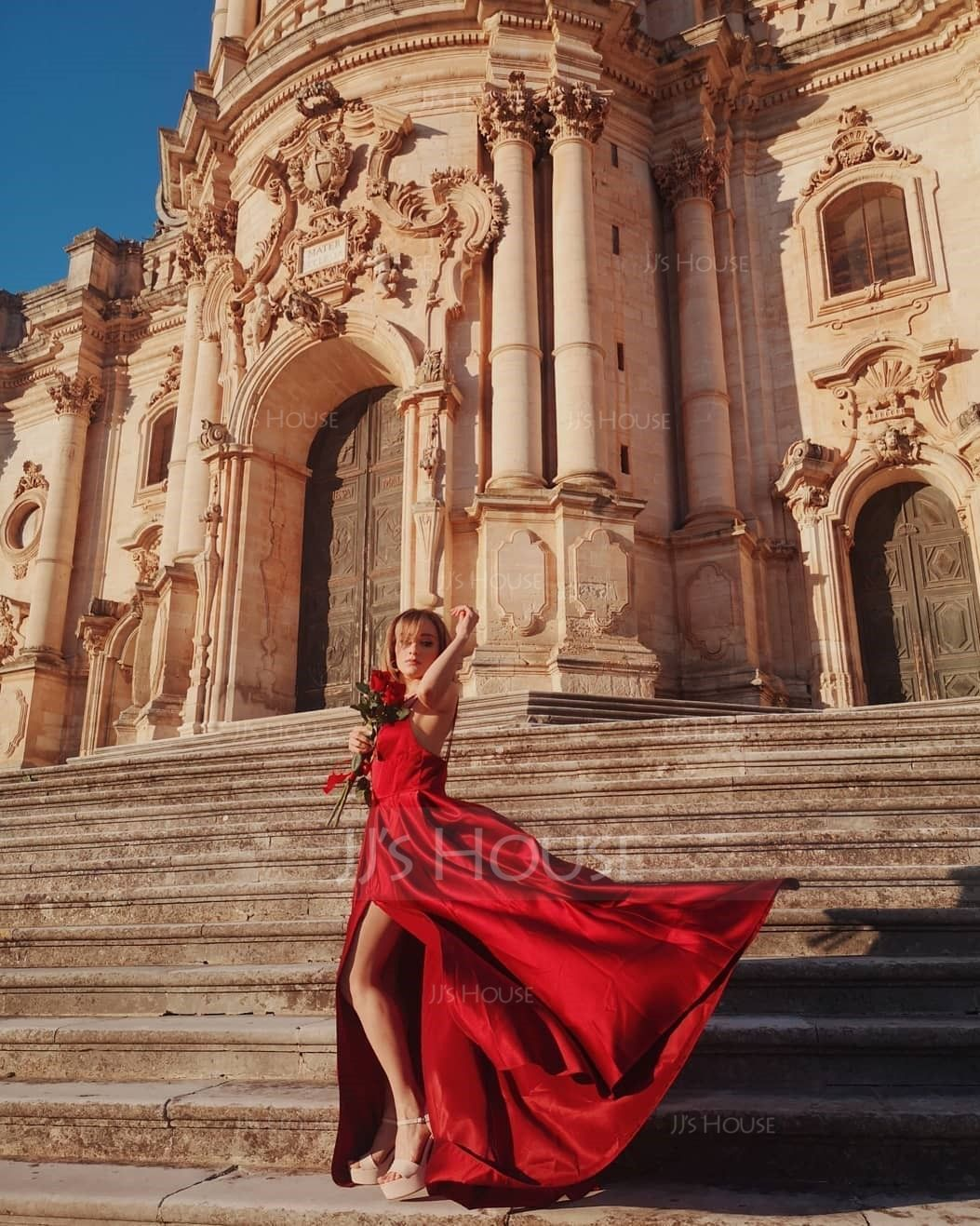 A-Line V-neck Floor-Length Satin Bridesmaid Dress With Split Front Pockets (007236082)