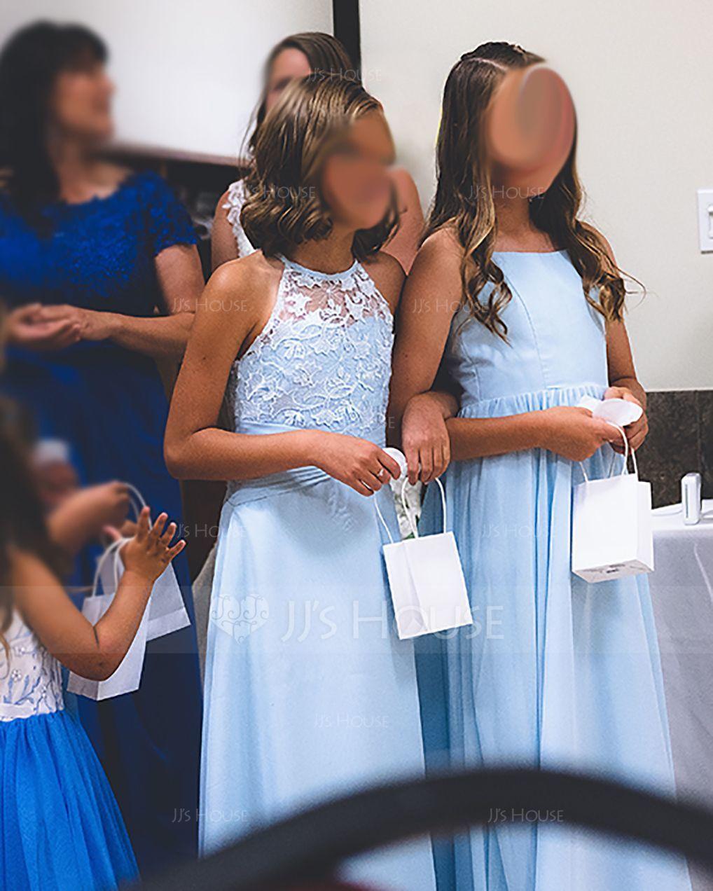 A-Linie U-Ausschnitt Bodenlang Chiffon Kleider für junge Brautjungfern (009097063)