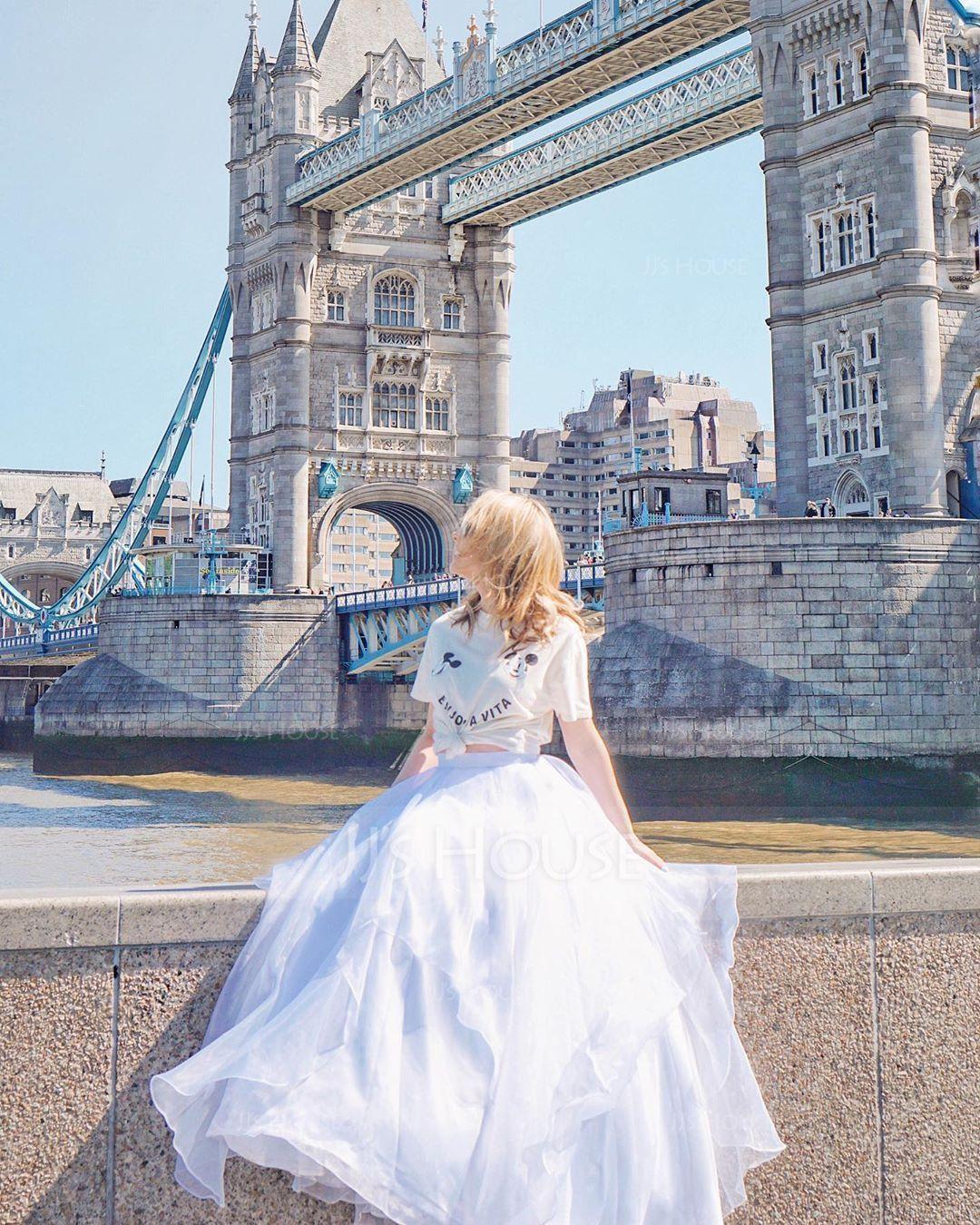 Separates Sweep Train Organza Wedding Skirt (002110494)