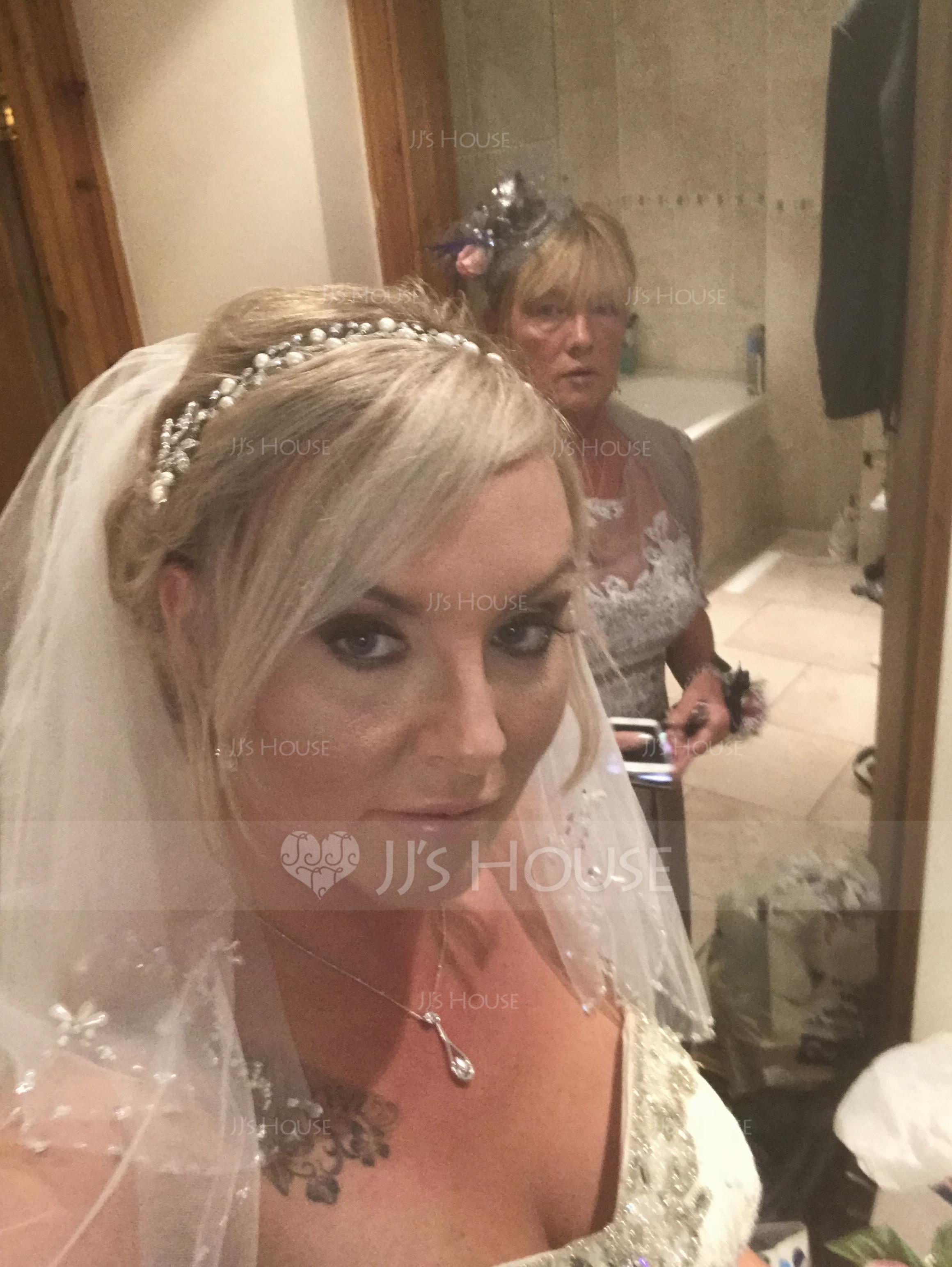 2 couches Voile de mariée longueur coude avec Bord perlé (006034328)