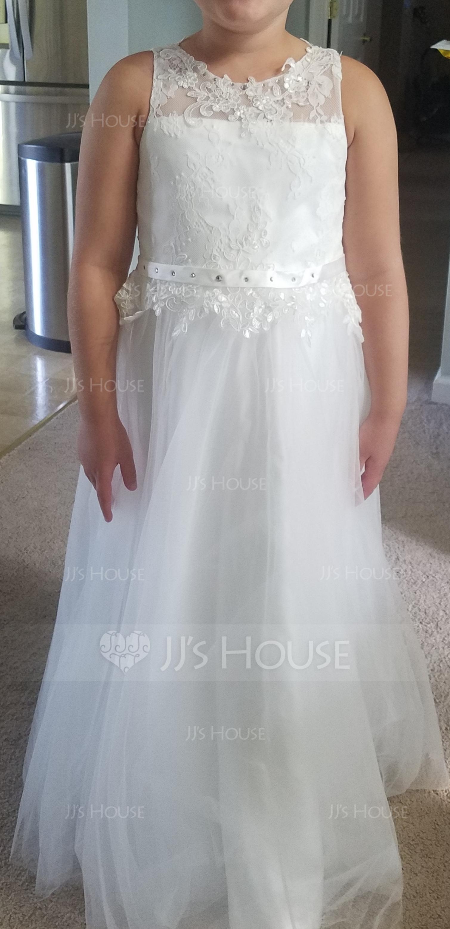 Duchesse-Linie/Princess U-Ausschnitt Bodenlang Tüll Kleid für junge Brautjungfern mit Schleifenbänder/Stoffgürtel Perlstickerei (009136423)