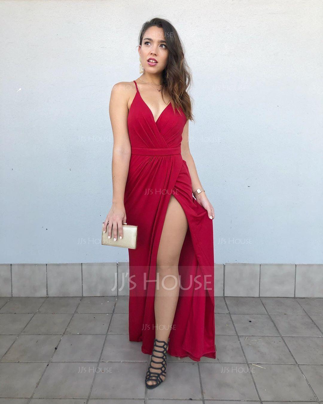Sheath/Column V-neck Floor-Length Jersey Prom Dresses With Ruffle (272177495)