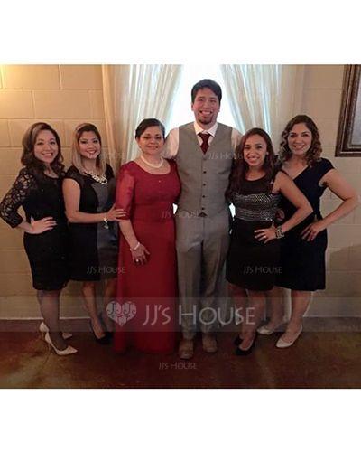 A-Linie U-Ausschnitt Bodenlang Chiffon Kleid für die Brautmutter mit Rüschen Perlstickerei Applikationen Spitze Pailletten (008058408)