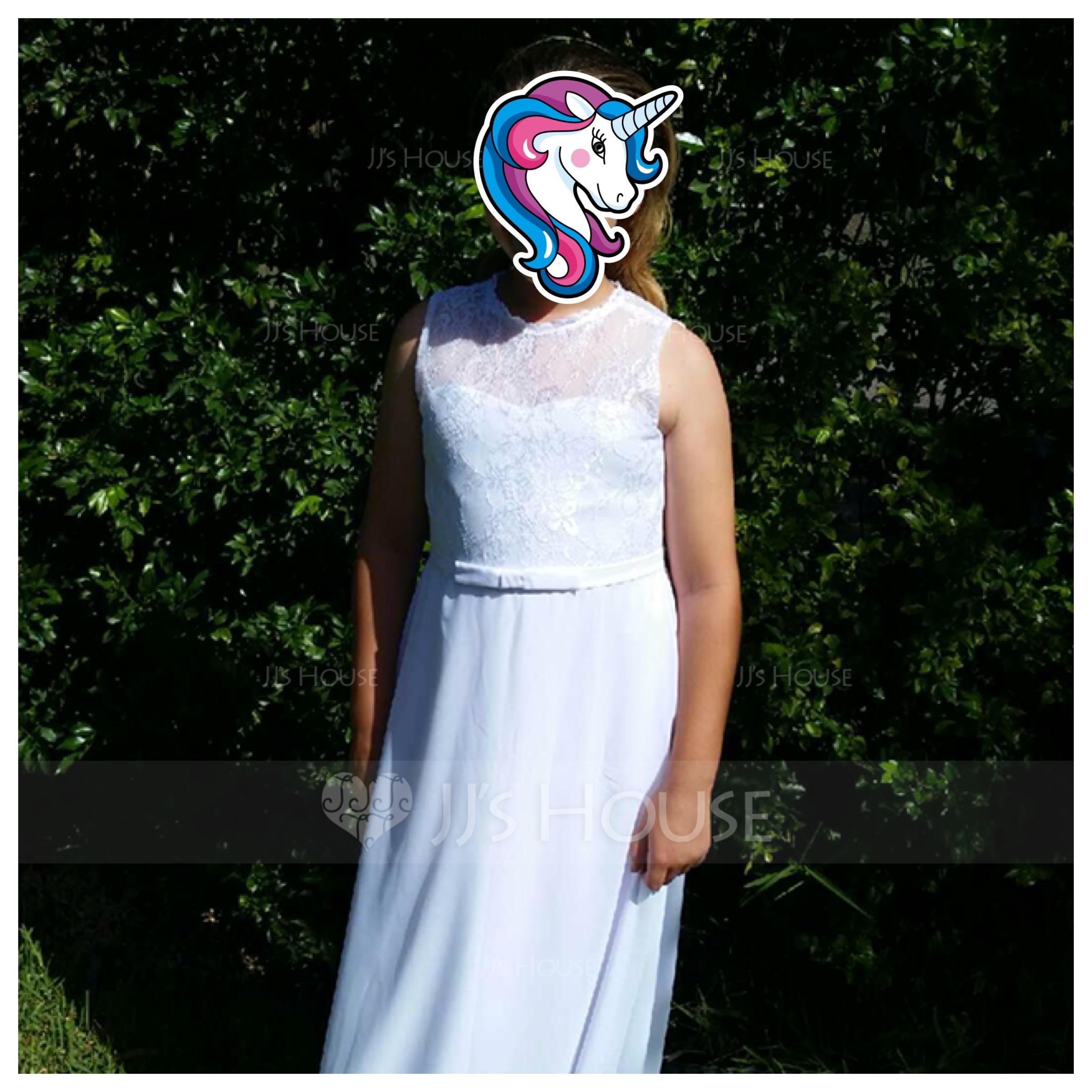 A-Linie U-Ausschnitt Bodenlang Chiffon Kleider für junge Brautjungfern mit Schleife(n) (009130512)