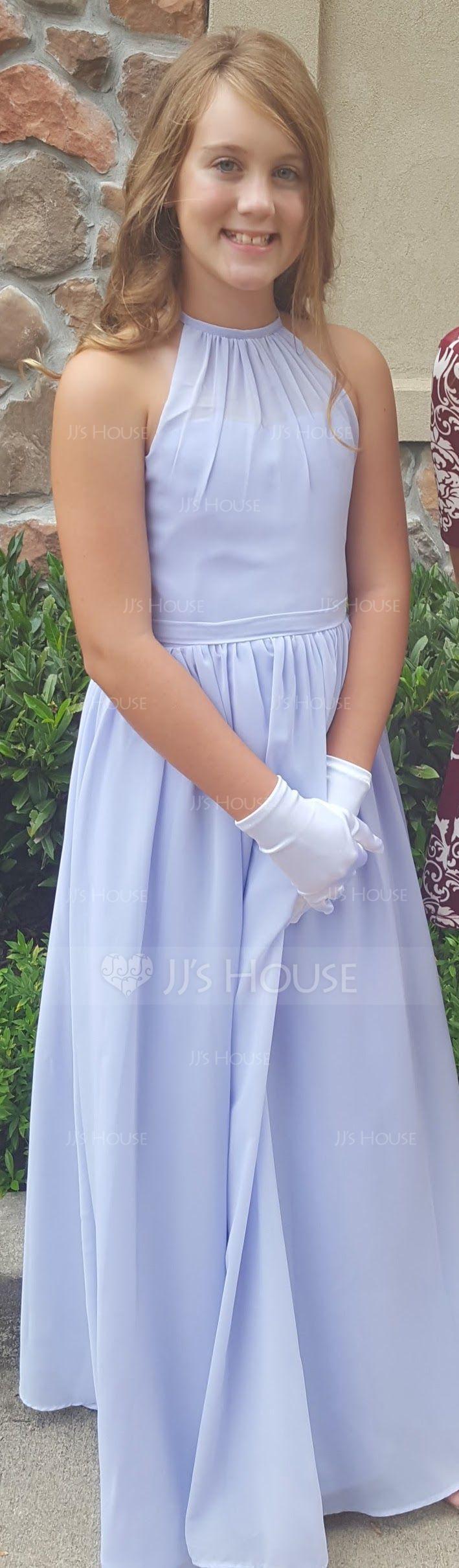 A-Linie U-Ausschnitt Bodenlang Chiffon Kleider für junge Brautjungfern mit Rüschen (009081144)
